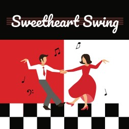 a dancing couple is surrounded by music notes on a checkerboard dance floor