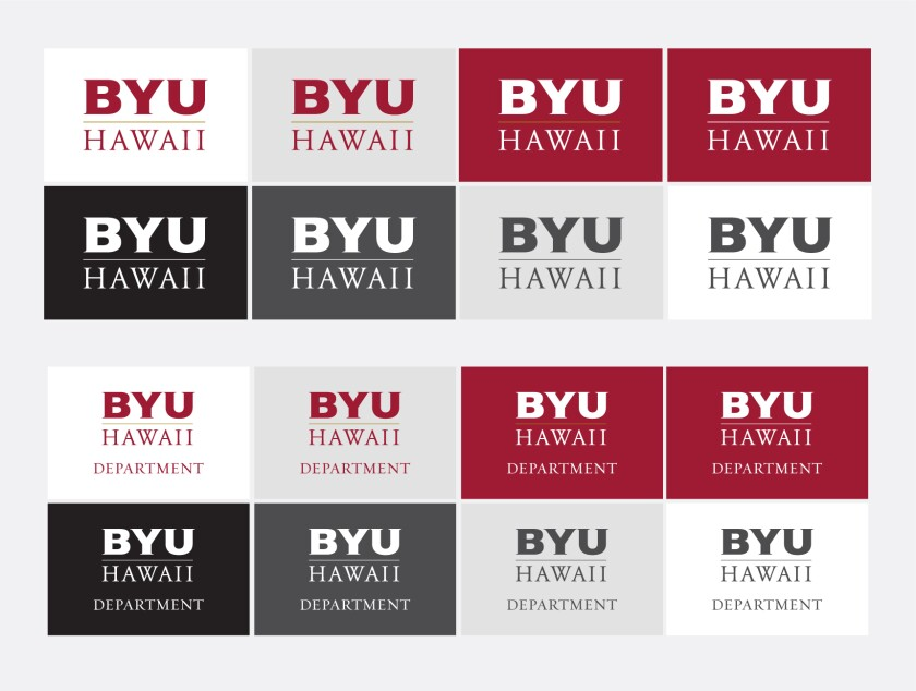 In two groups: the top group has the BYUH core monogram logo and the bottom group has the department logos. All are placed in and on different colors—light gray, crimson red, black, dark gray, medium gray, and white.
