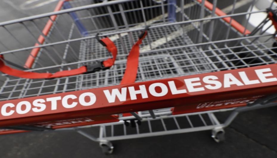 A Costco shopping cart