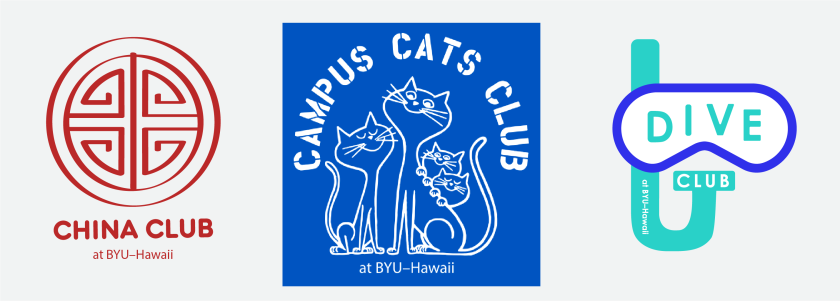 """Student club mark examples using """"at BYU–Hawaii"""" after the club name such as """"China Club at BYU–Hawaii"""", """"Campus Cats Club at BYU–Hawaii"""", and """"Dive Club at BYU–Hawaii."""" These student club marks do not use any part of the official university marks but are unique designs to the club."""