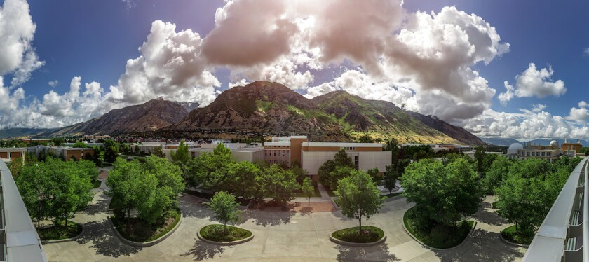 Panoramic photo of the mountains from BYU's campus.