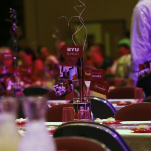 Image of BYUH Employee event showing tables and center pieces