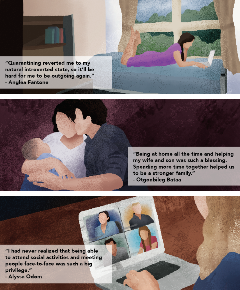 "Graphic of three different students situations. Top is of a woman laying on her bed on her laptop with the quote ""Quarantining reverted me to my natural introverted state, so it'll be hard for me to be outgoing again."" - Angela Fantone