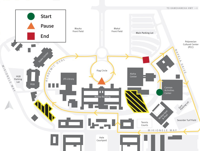 A map showing the parade route on campus