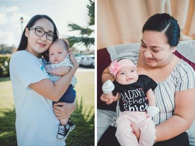 Three photos of mothers holding newborn babies.