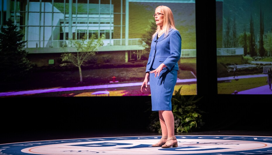 Traci Neilsen, BYU physics professor, gives a devotional address to BYU campus.