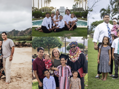 Portraits of a couple and three couples with their five kids