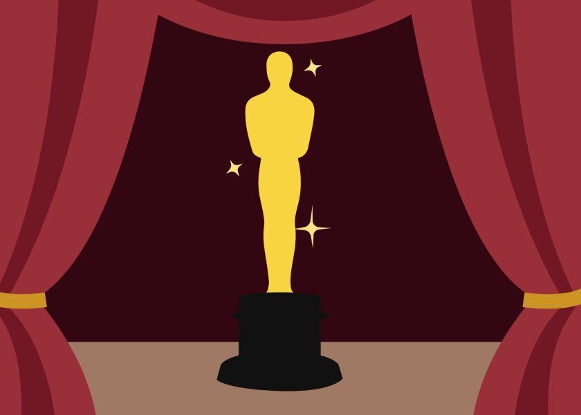 An illustration of an academy award and curtains