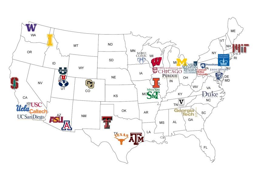 Graduate Schools Map 2020