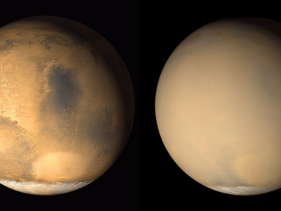 Images courtesy of NASA show Mars before and after global dust storms.