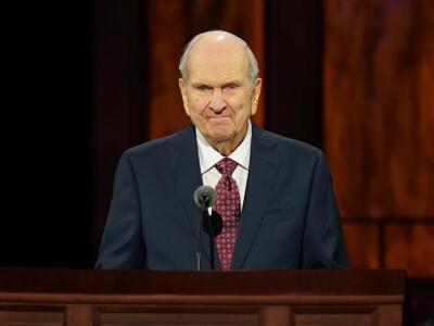 Photo of President Russell M. Nelson of the LDS Church speaking at October 2020 general conference.