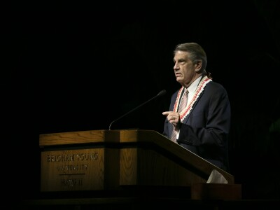 President Hallstrom at the podium