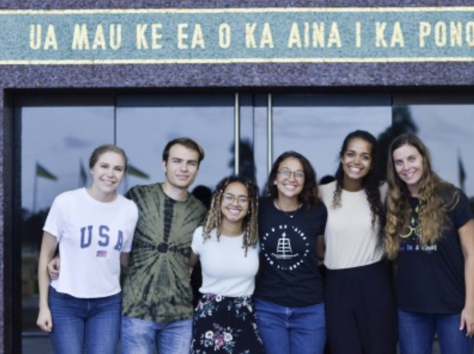 BYUH students stand in front of the David O. McKay Foyer