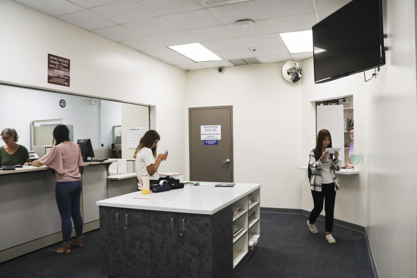 Students at the BYU–Hawaii Mail Center