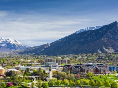 aerial image of BYU looking toward northern mountains