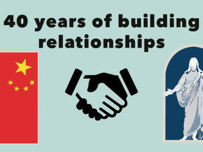 """Graphic of China flag, handshake, and Latter Day Saints logo, the white Jesus stature with blue background. With words overheard saying, """"40 years of building relationships."""""""