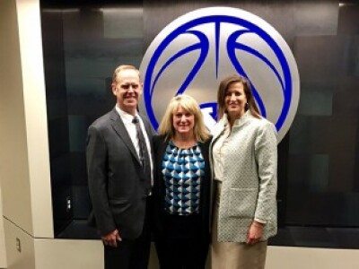 Amy Wilson with Tom Holmoe and Liz Darger