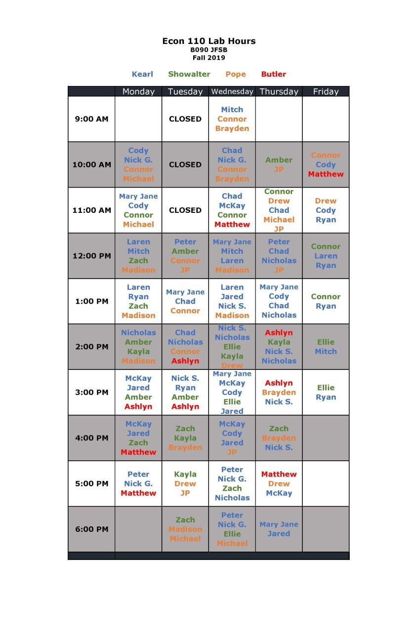 110 lab schedule