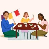 illustration of family eating