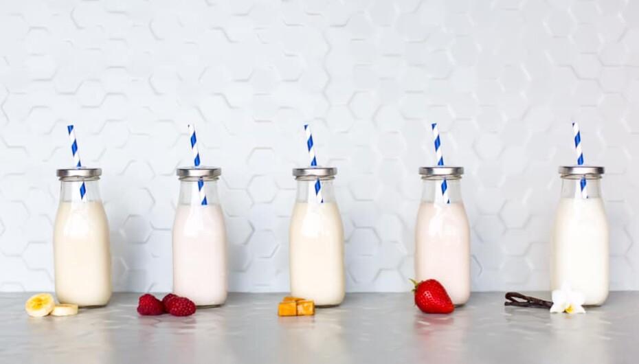 Five bottles of milk of the new flavors of milk at Milk & Cookies.