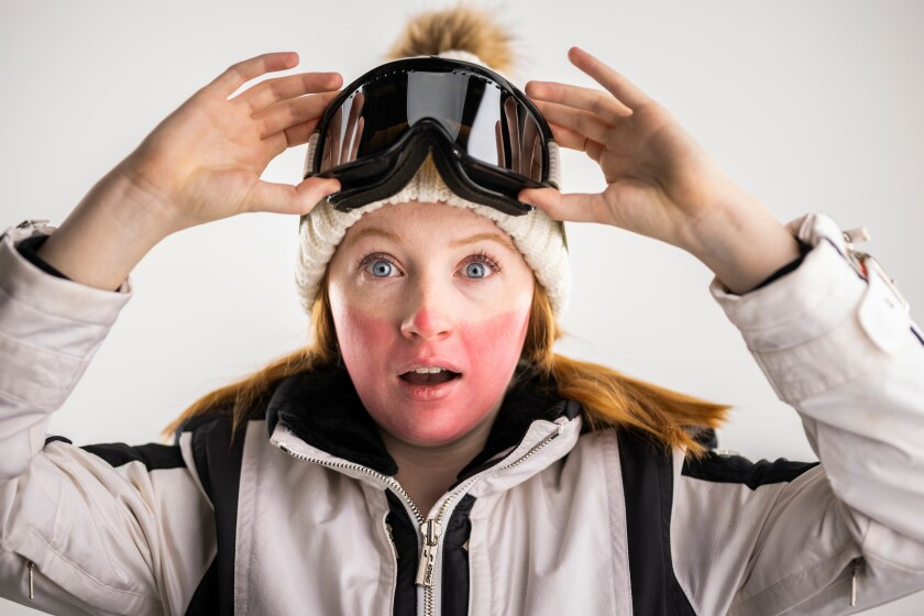 Photo illustration of person wearing ski goggles and having a sunburn