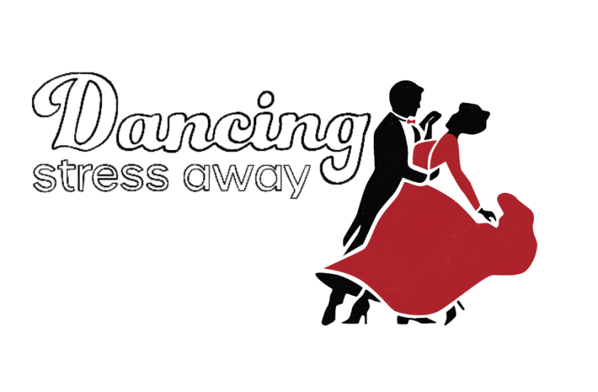 "Graphic of a silhouette man wearing a black tux and red bowtie dancing with a woman wearing a long flowing red dress with the words ""Dancing stress away."""