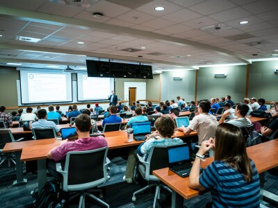 students attend a lecture in the Engineering building
