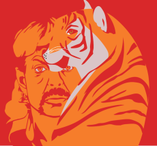 A graphic of Joe Exotic and a tiger.