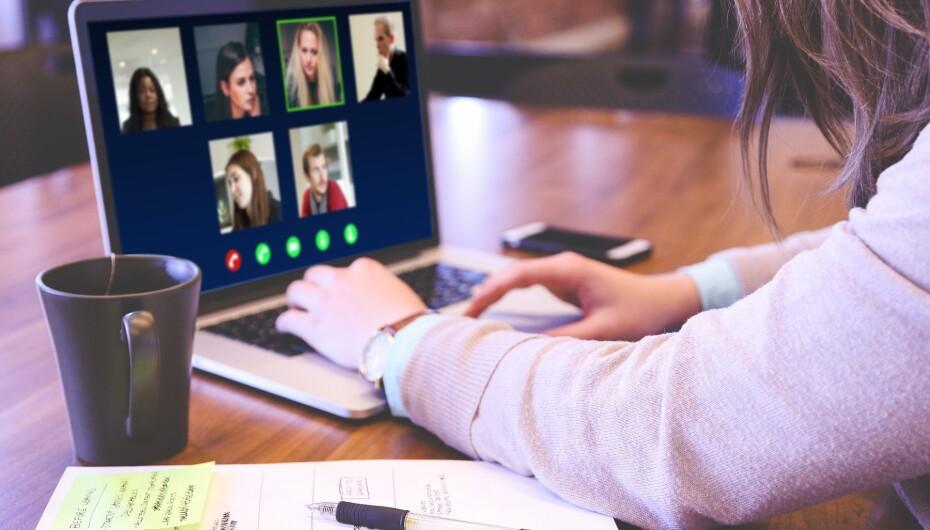 Person at computer doing a virtual call