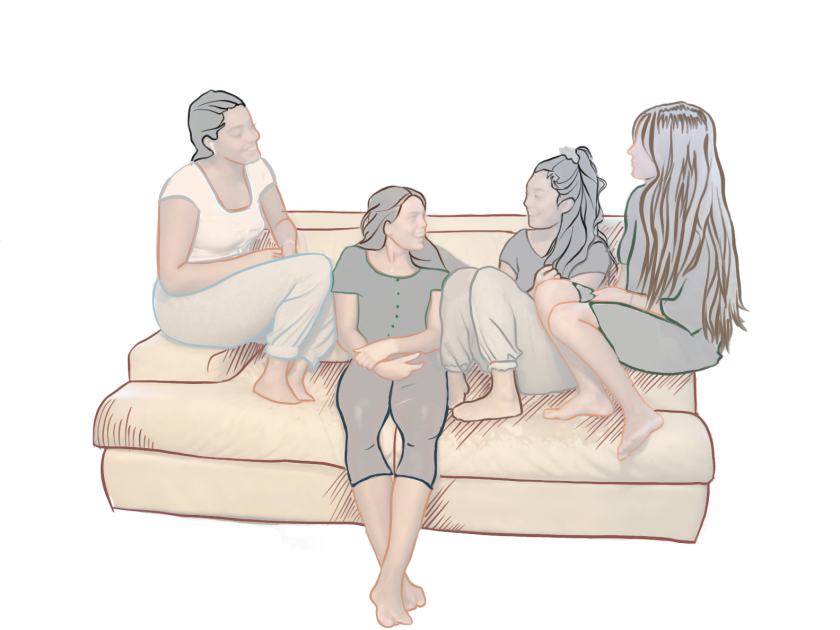 Graphic of four girls sitting on a tan couch