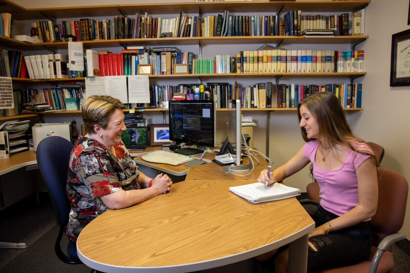Photo of Gaye Strathearn with a Student