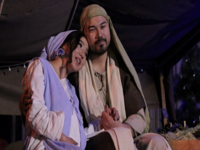 Nativity Scene featuring a Mongolian Mary and Joseph
