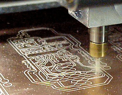Close-up of printed circuit board mill