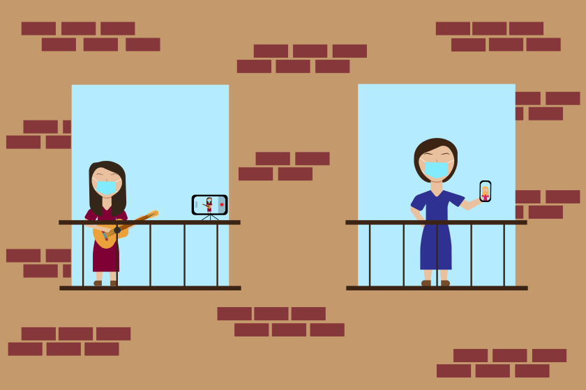 An illustration of two people standing on their balconies while one holds a cell phone and the other plays an instrument.