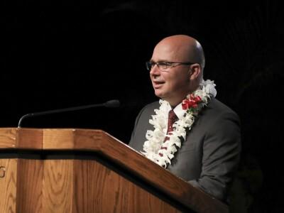 Jarod Hester at brown podium
