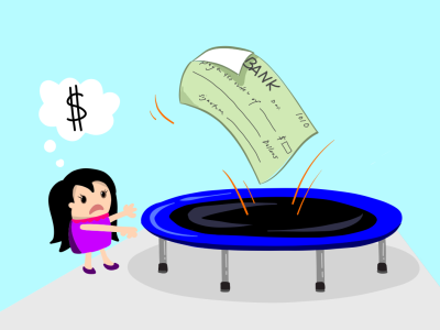 An illustration of a check bouncing off of a trampoline with a girl in distress on the side