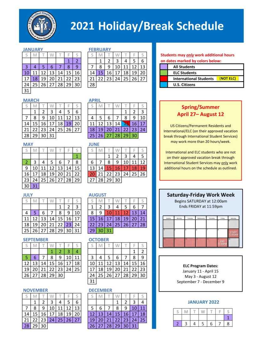 Byu Fall 2021 Calendar Holiday/Break Schedule