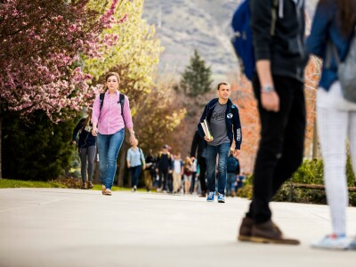 Students on BYU campus