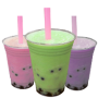 Three Bubble Smoothie Drinks to go. There is a pink, green, and purple bubble drink next to each other.