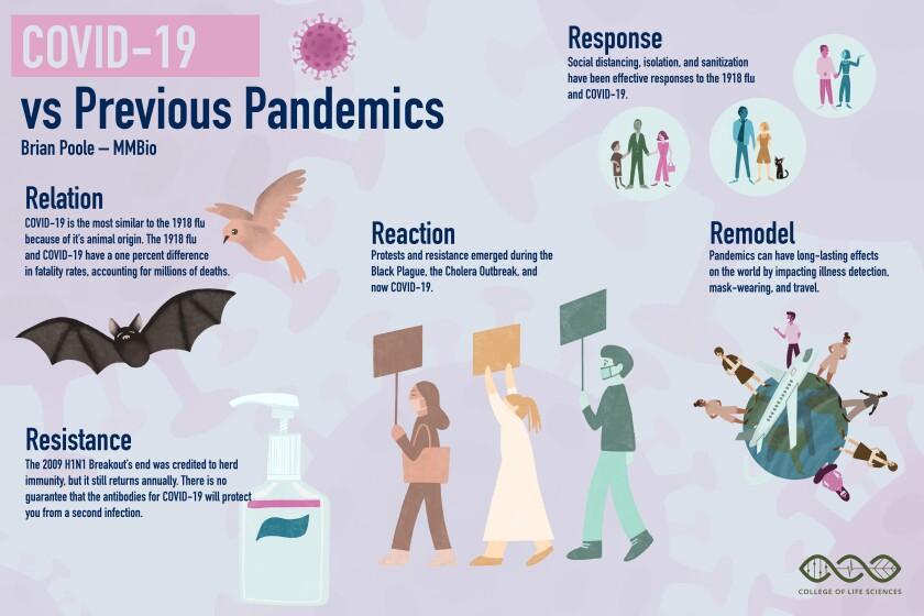 COVID-19 vs previous pandemics graphic