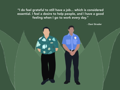 An illustration of 2 men in aloha shirts standing next to each other with a quote above them from Strader.