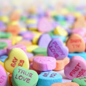 Valentine's Day colorful candy hearts with sayings on them