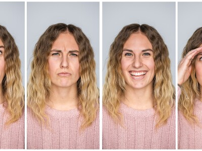 A student makes faces for an illustration about facial recognition technology