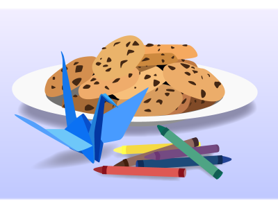 An illustration of cookies on a plate, a paper crane and six crayons.