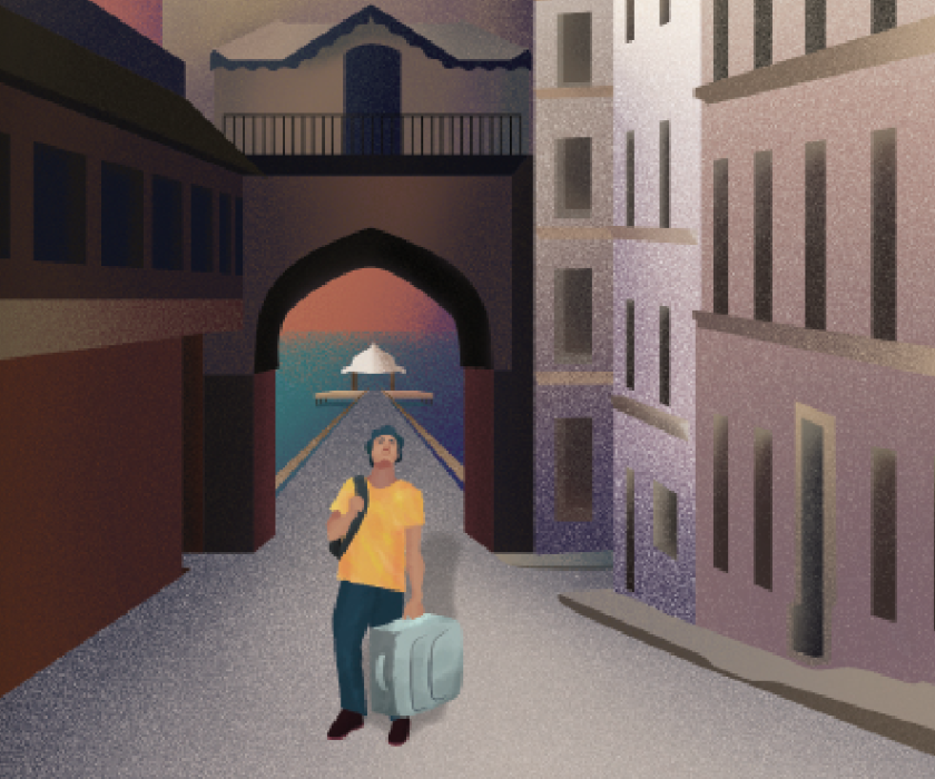 A graphic of a man holding luggage in a foreign place.