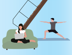 A graphic of a girl sitting on a couch with a laptop and a boy doing yoga.