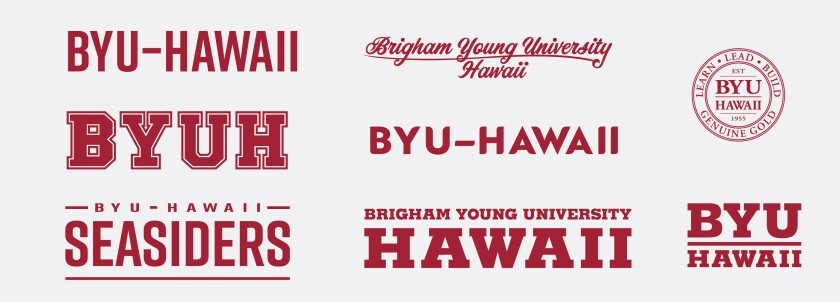 "Eight merchandising mark examples from the existing collection that has ""BYU–Hawaii"", ""Brigham Young University–Hawaii"", ""BYUH"", or BYU–Hawaii Seasiders"" designed in the mark."