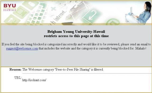 """A screenshot of an error stating, """"Brigham Young University–Hawaii restricts access to this page at this time."""""""
