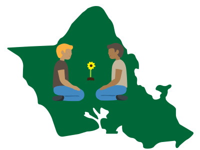 An illustration of two people on the island of Oahu with a sunflower between them.
