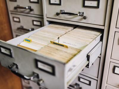 An open file drawer full of folder files.